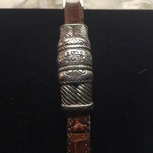 Brighton Silver & Leather Strap Bracelet